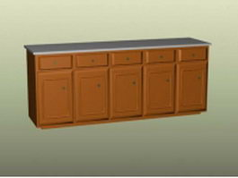 Modular wood kitchen cabinet 3d model preview