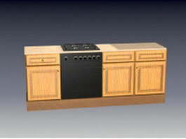 Built in stove kitchen cabinet 3d model preview
