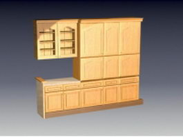 Sample kitchen wall cabinet 3d model preview