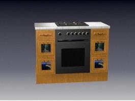 Domestic kitchen stove cabinet 3d model preview