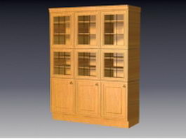 Wood kitchen cupboard 3d preview