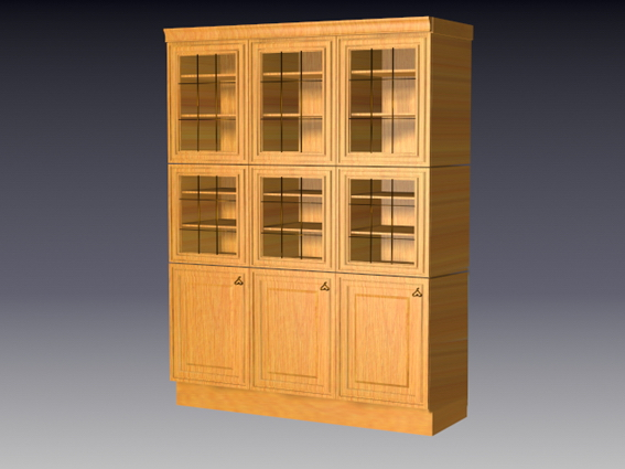 Wood kitchen cupboard 3d rendering