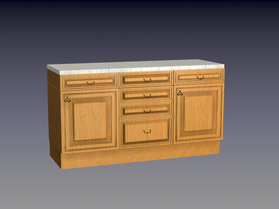 Kitchen counter cabinet 3d rendering