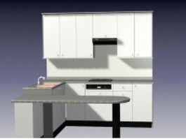 White kitchen design with counter 3d model preview