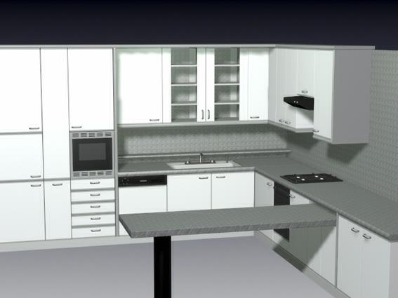 F-shaped kitchen design 3d rendering