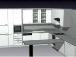 F-shaped kitchen design 3d model preview