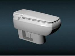 White color ceramic intelligent wc toilet 3d model preview