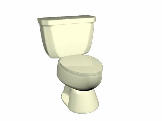 Single flush round toilet 3d rendering