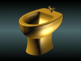 Golden bidet 3d model preview