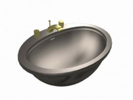 Metal washbowl with tap 3d preview