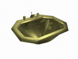 Brass bathroom sink 3d preview