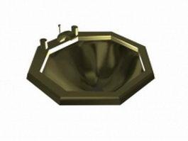 Brass basin sink 3d preview