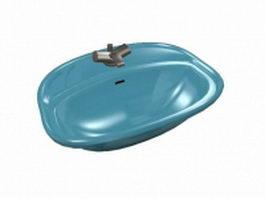 Blue sink basin 3d preview