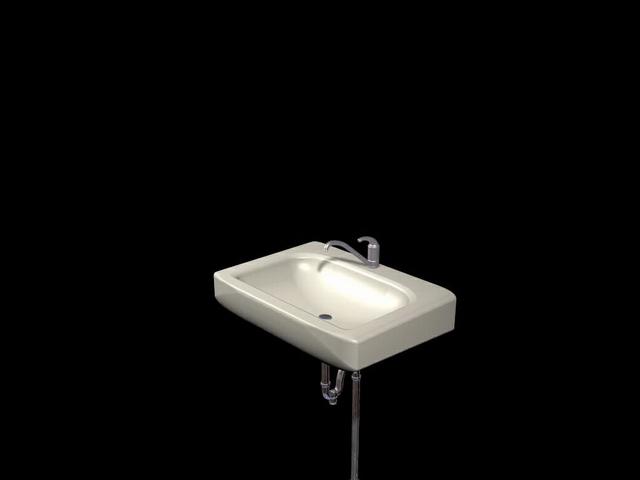 Wall hung bathroom basin 3d rendering