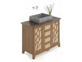 Wooden bathroom vanity 3d model preview