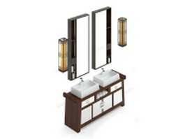 Luxurious double sink bathroom vanity cabinet 3d model preview