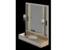 Wall mount bathroom vanity 3d model preview
