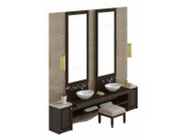 Bathroom vanity with stool 3d model preview