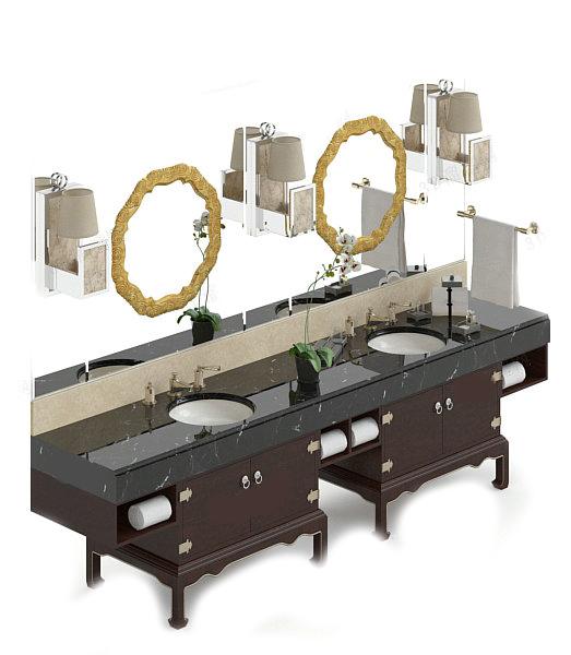Antique bathroom vanity cabinet 3d rendering