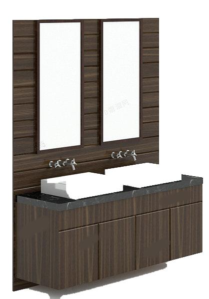 Double sink vanity units 3d rendering