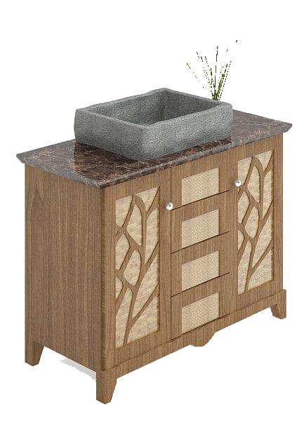 Vessel sink vanity cabinet 3d rendering