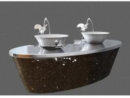 Granite vanity with vessel sink 3d model preview
