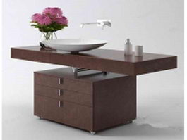 Bowl vanity with cabinet 3d model preview