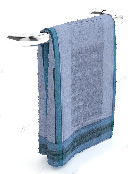 Towel rack with towel 3d rendering