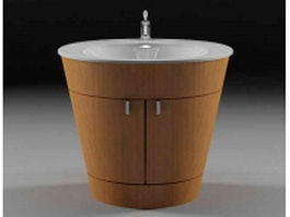 Wash basin with wood surround 3d model preview