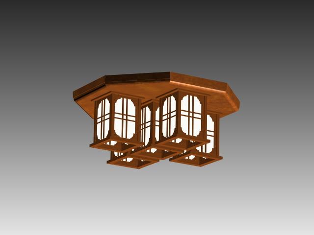 Classic wood ceiling lamp 3d rendering