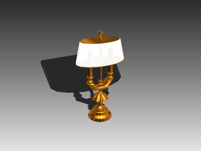 Unique brass table lamp 3d rendering