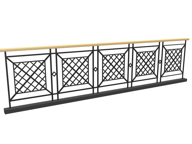 Modern iron railing 3d model 3dsMax,3ds files free ...