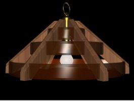 Wood pendant light fixture 3d model preview