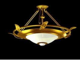 Brass bowl pendant chandelier 3d model preview