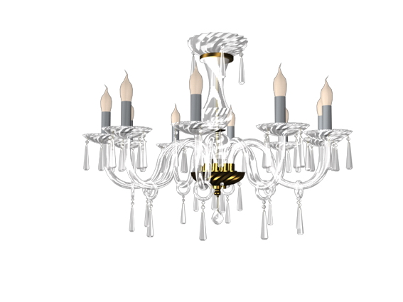 Candle crystal chandelier 3d rendering
