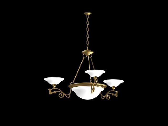 Antique brass chandelier lighting 3d rendering