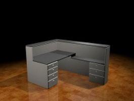 Office partition desk units 3d model preview