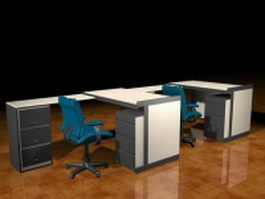 Two people office staff desk workstation 3d preview