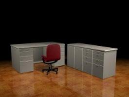Office desk cabinets 3d model preview