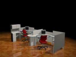 Office workstation cubicles 3d model preview