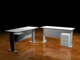 Office desks with cabinet 3d model preview