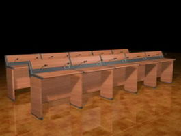 Call center workbenches 3d model preview