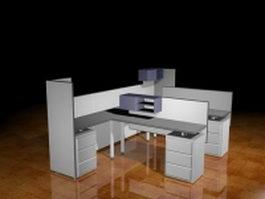 Modular office workstation 3d model preview