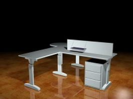 Two people office workstation 3d model preview