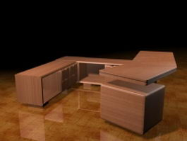 U shaped executive desk 3d model preview