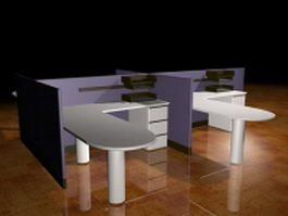 4 People cubicle workstations 3d preview