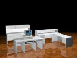 Office desks collection 3d model preview