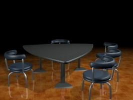 Triangle conference desk with chairs 3d model preview