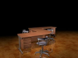 L shaped office workbench 3d model preview