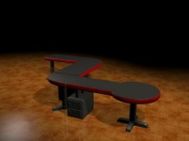 Z shaped workstation table 3d model preview